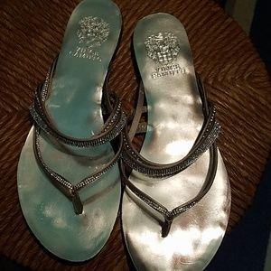 Vince Camuto Silver Flat Sequins Sandals Size 7.5